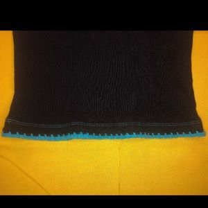 destineekc Tops - Beautiful black and blue crochet trim tank top!💙